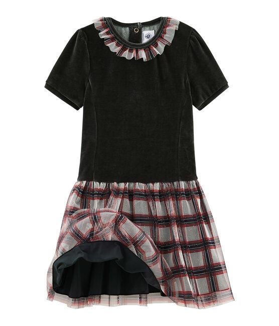 Vestido de manga corta para niña negro Noir / blanco Multico