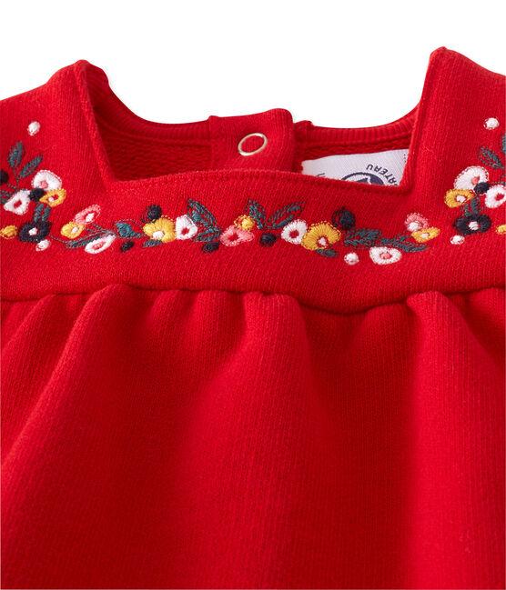 Vestido de niña en muletón bordado rojo Froufrou