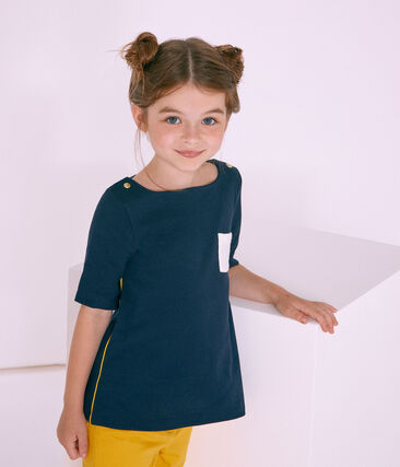 Camiseta con mangas 3/4 infantil para niña azul Smoking