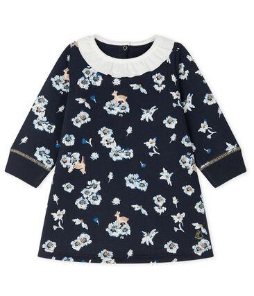Vestido de manga larga estampado de bebé niña azul Smoking / blanco Multico