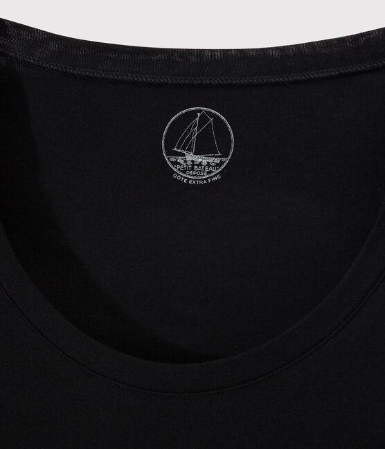 Camiseta de canalé ligero de mujer negro Noir