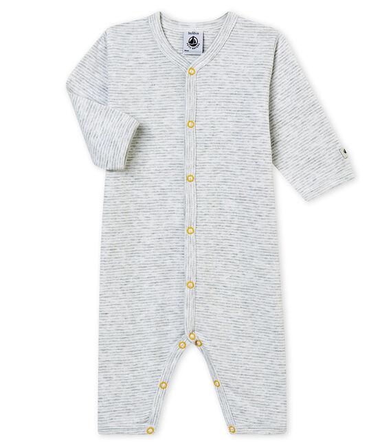 Pelele sin pies para bebé niño gris Poussiere / blanco Marshmallow
