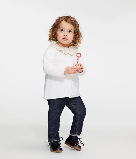 Cárdigan de punto de lana y algodón para bebé niña blanco Marshmallow