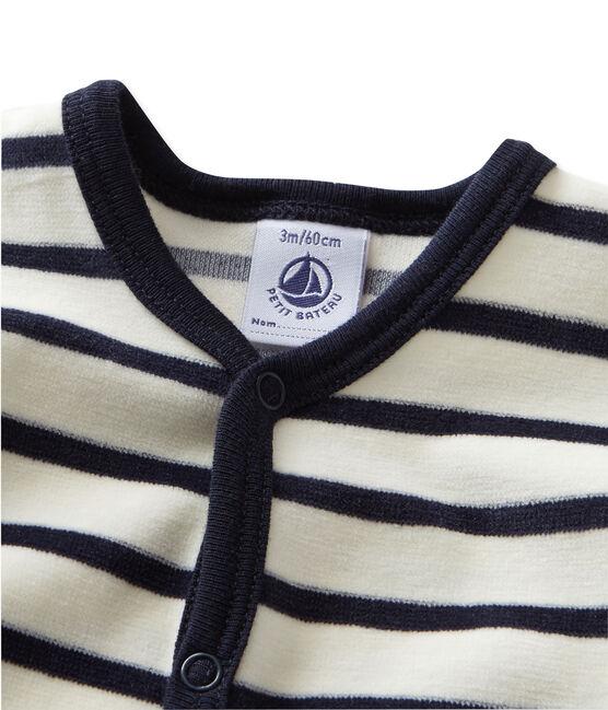 Pijama de terciopelo para bebé beige Coquille / azul Smoking