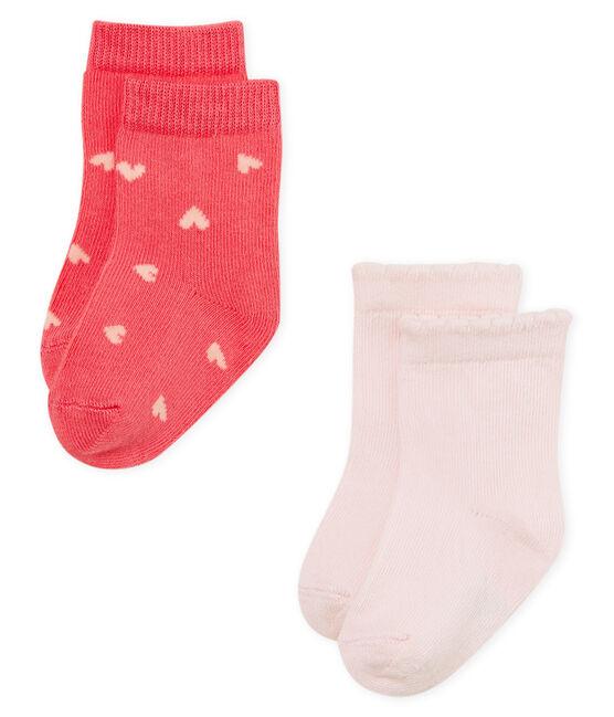 Lote de 2 pares de calcetines para bebé niña lote .