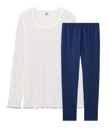 Pijama de punto para chica azul Medieval / blanco Multico
