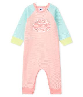 Pijama sin pies de punto verde Verglas / blanco Marshmallow