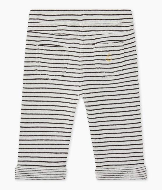 Pantalón bebé niño a rayas blanco Marshmallow / negro City