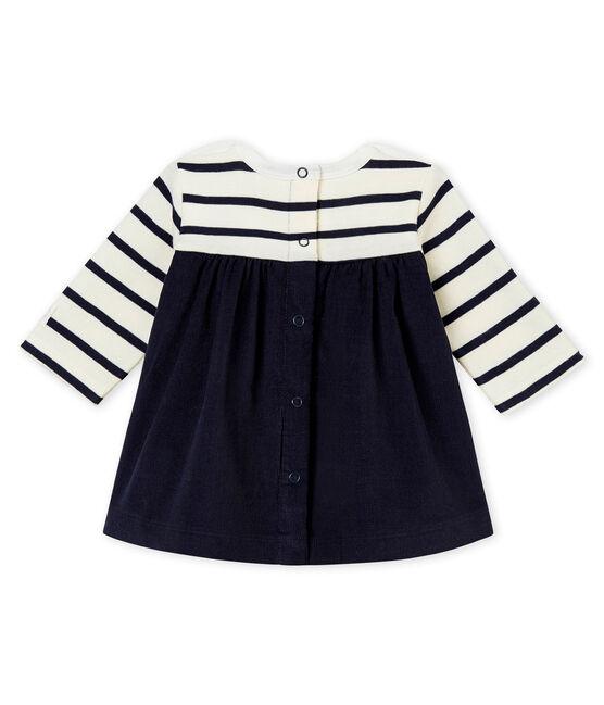 Vestido icónico para bebé niña beige Coquille / azul Abysse