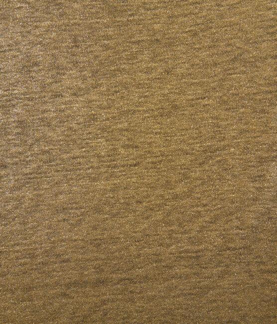 Camiseta de manga larga de lino para mujer marrón Shitake / amarillo Or