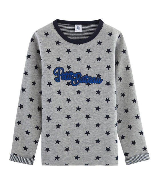 Camiseta cálida y reversible para niño gris Subway / azul Smoking