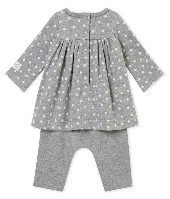 Vestido legging bebé niña gris Subway / blanco Multico