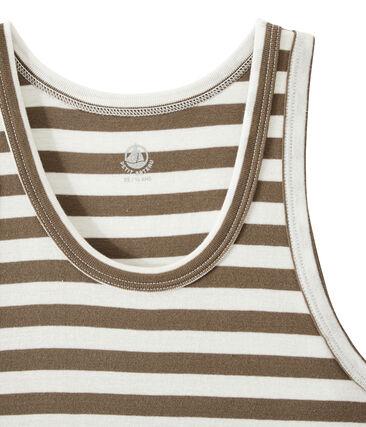 Camiseta de mujer en canalé original de rayas marrón Shitake / blanco Marshmallow