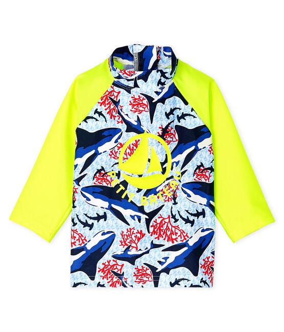 Camiseta anti-UV UPF 50+ ecorresponsable para bebé niño azul Smoking / blanco Multico