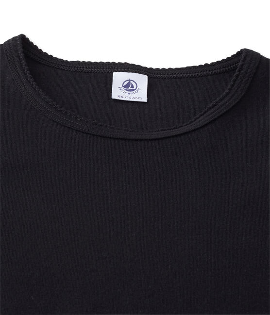 Camiseta manga corta lisa para mujer negro Noir
