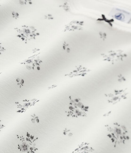 Pijama de terciopelo para niña gris Maki / blanco Lait