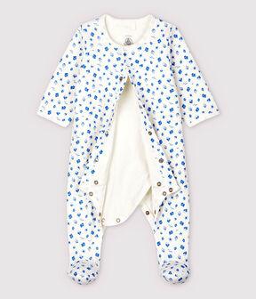 Bodyjama con estampado de barcos de bebé en tejido tubular de algodón ecológico blanco Marshmallow / azul Cool