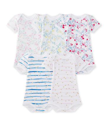 Lote de 5 bodies de manga corta para bebé niña