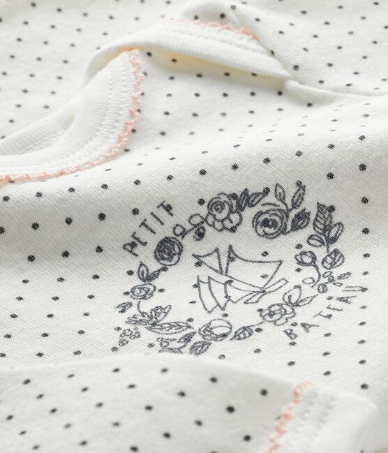 Bodi de manga larga para bebé blanco Lait / gris Maki