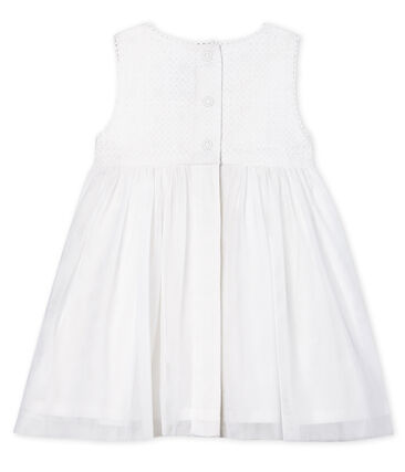 Vestido de ceremonia para bebé niña blanco Marshmallow / marrón Cuivre