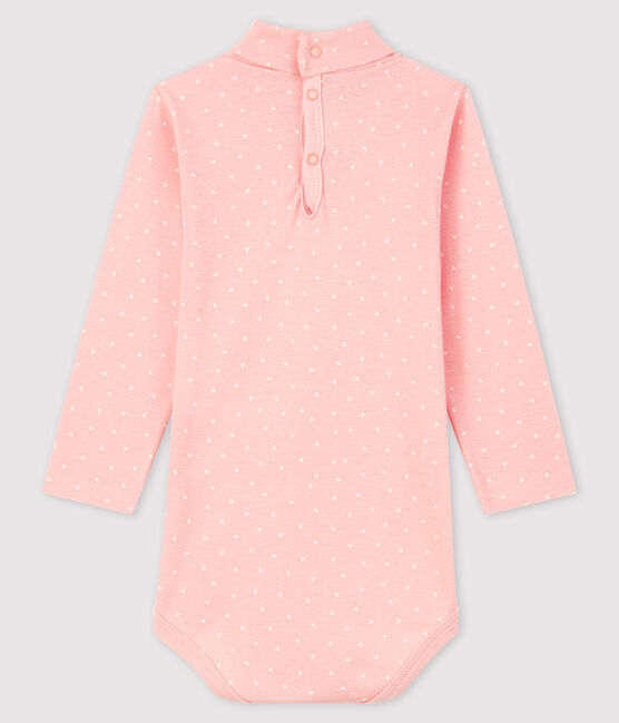 Bodi de manga larga para bebé niña rosa Minois / blanco Marshmallow