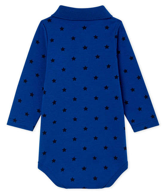 Body de manga larga con cuello de polo para bebé niño azul Limoges / azul Smoking
