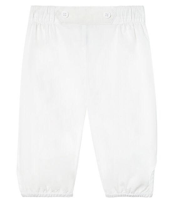 Pantalón de vestir de popelina lisa para bebé niño. blanco Ecume