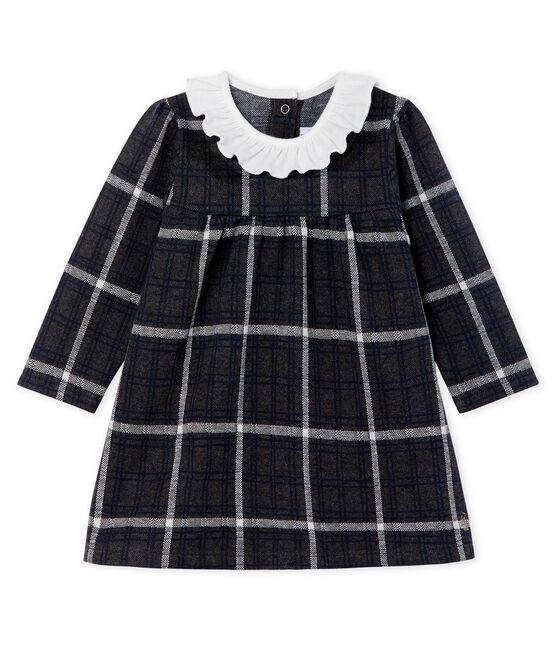 Vestido de manga larga de cuadros para bebé niña negro City / blanco Multico