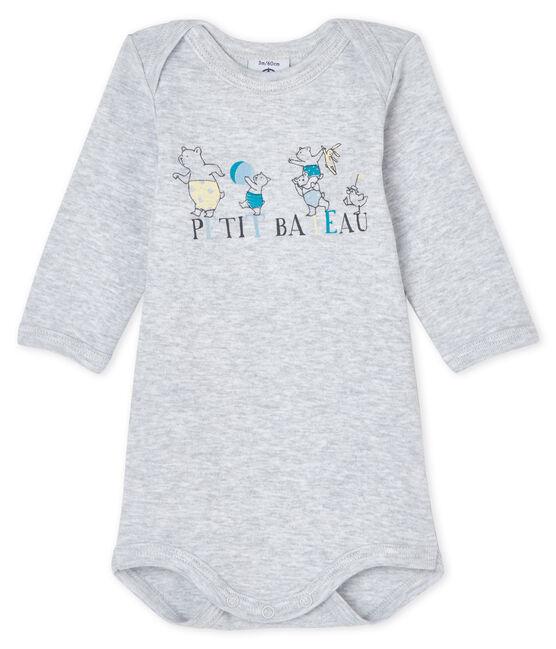 Bodi de manga larga para bebé niño-niña gris Poussiere Chine