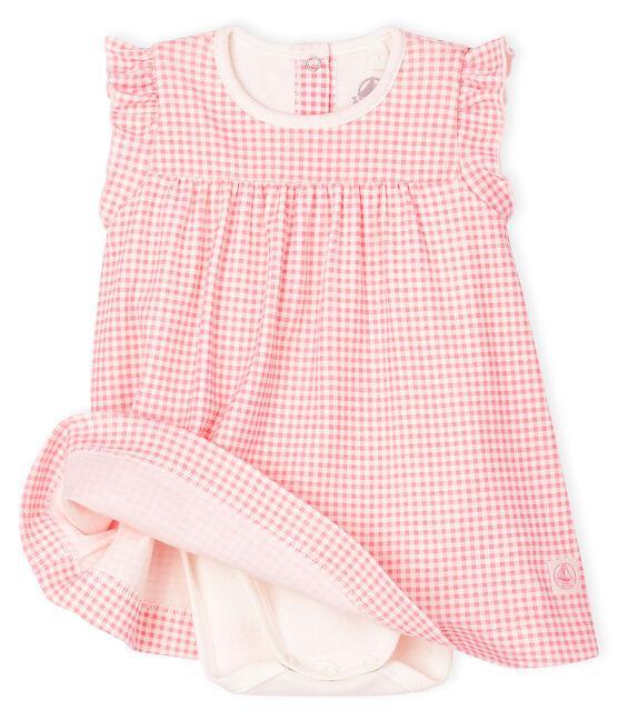 Bodi-vestido de canalé de cuadros vichy rosa para bebé niña blanco Marshmallow / rosa Gretel