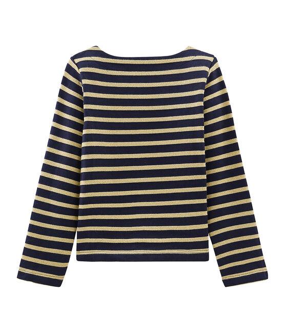 Jersey marinero de manga larga para niña azul Smoking / marrón Brindille Brillant