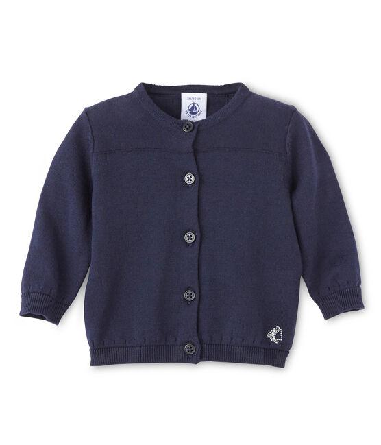 Cárdigan de bebé para niña en algodón azul Smoking