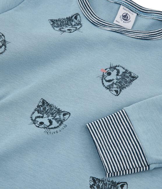 Pijama de punto para niño azul Acier / blanco Multico