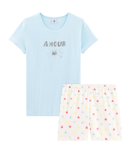 Pijama corto de punto para chica azul Glacis / blanco Multico