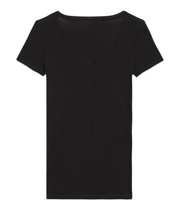camiseta de manga corta con cuello en v de mujer negro Noir