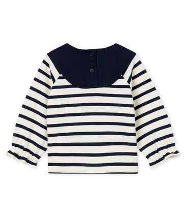Jersey marinero renovado para bebé niña beige Coquille / azul Smoking