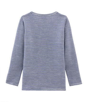 Camiseta infantil de manga larga en lana y algodón azul Medieval / blanco Marshmallow