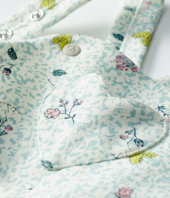 Peto largo de muletón para bebé niña blanco Marshmallow / blanco Multico