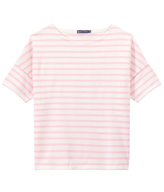 Marinera de manga corta en jersey para mujer blanco Marshmallow / rosa Babylone