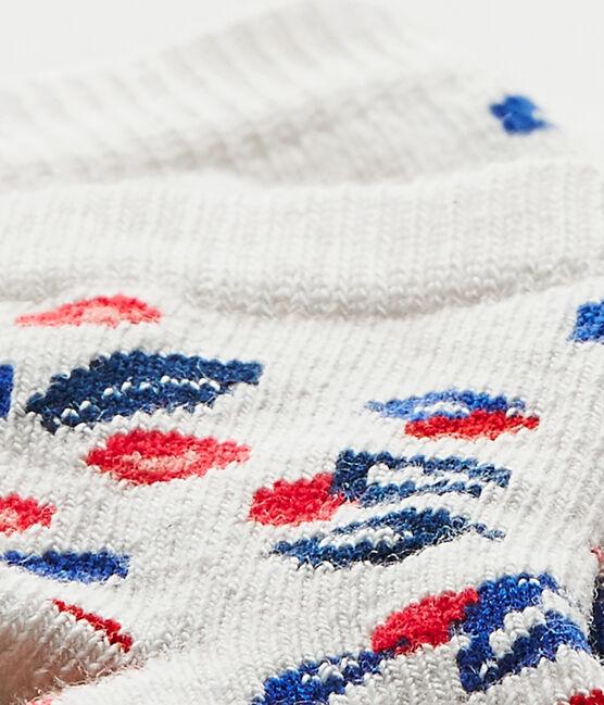 Calcetines bebé niña estampados blanco Marshmallow / blanco Multico
