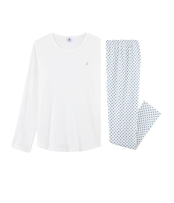 Pijama de punto para chica blanco Marshmallow / azul Contes