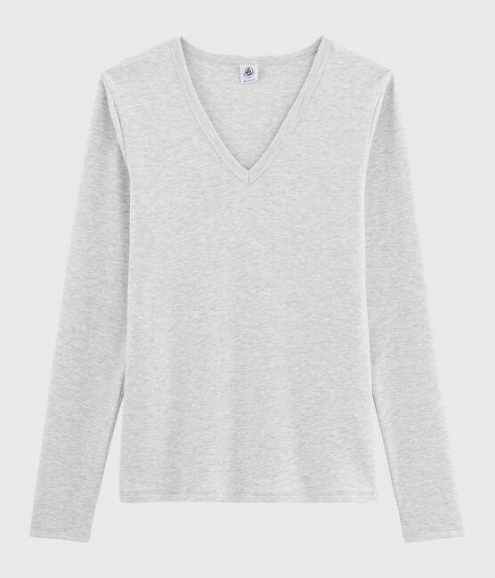 Camiseta icónica con cuello de pico para mujer gris Beluga