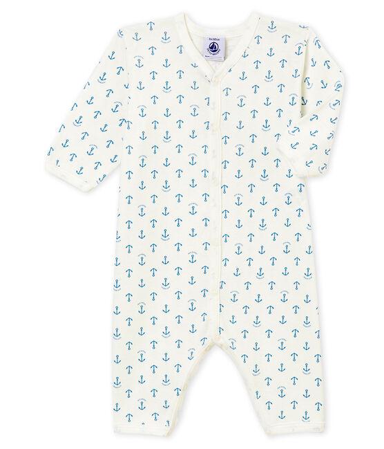 Pelele sin pies para bebé niño blanco Marshmallow / azul Alaska