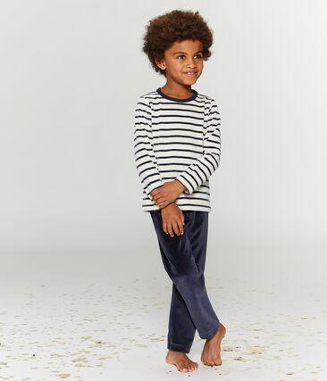 Pijama de terciopelo para niño pequeño azul Smoking / beige Coquille