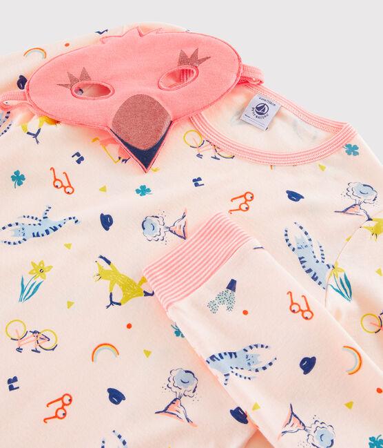 Pijama de disfraz de flamenco rosa para niña de punto rosa Fleur / blanco Multico