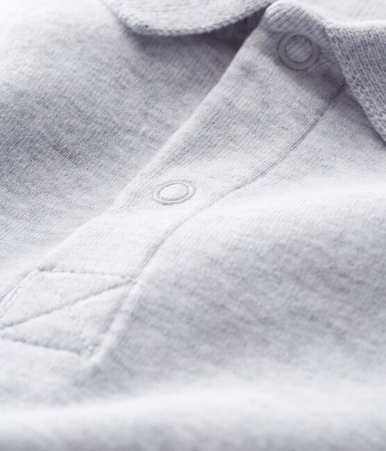 Body manga corta cuello polo liso para bebé niño gris Poussiere Chine