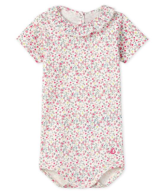 Body para bebé niña con cuello blanco Marshmallow / rosa Cupcake