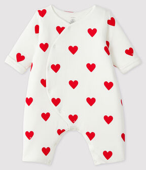 Mono largo de punto con corazones rojos para bebé niña blanco Marshmallow / rojo Terkuit