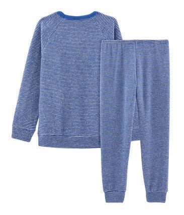 Pijama de rizo picado para niño muy cálido azul Major / gris Subway
