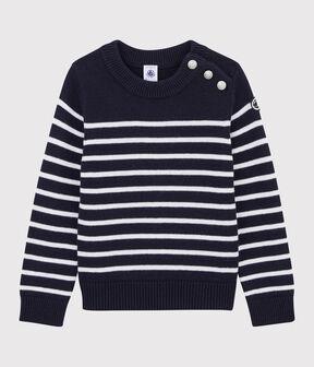 Jersey de lana y algodón de niña/niño azul Smoking / blanco Marshmallow
